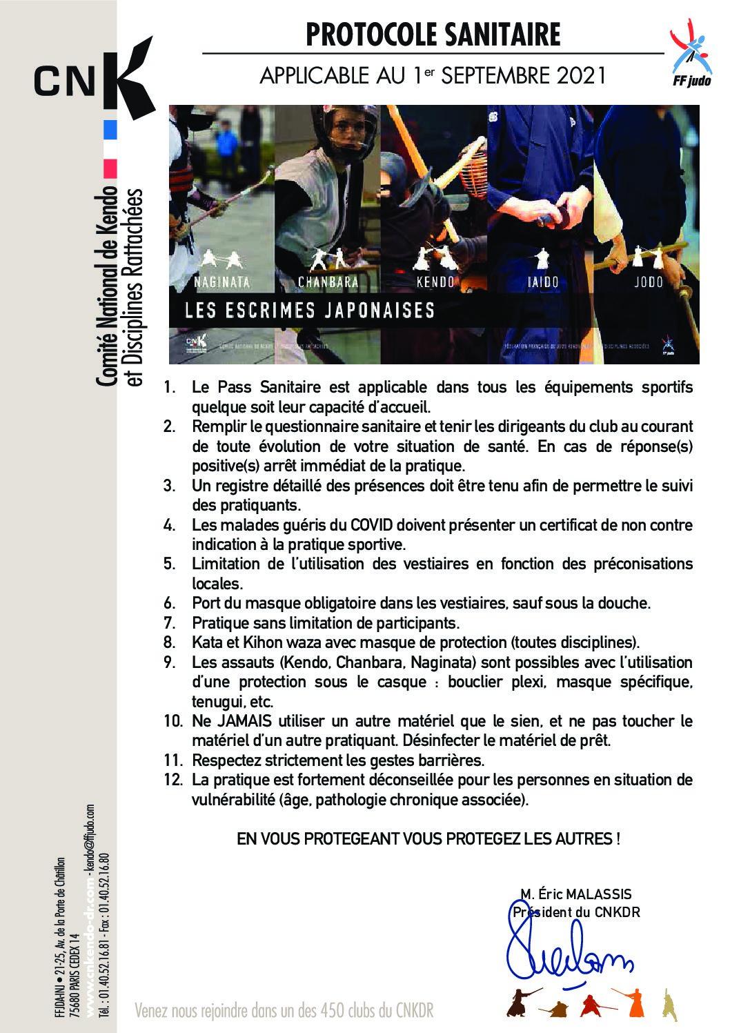 Protocole sanitaire au 1er septembre 2021
